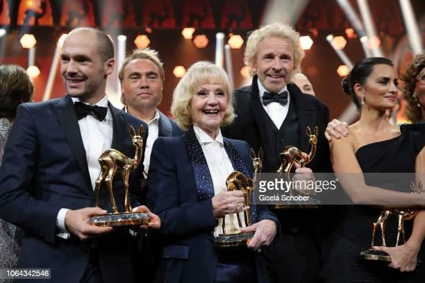Patrick Lange iron man winner Johan Ernst Nilson Liselotte Lilo Pulver and Thomas Gottschalk during the Bambi Awards 2018 final applause at Stage...
