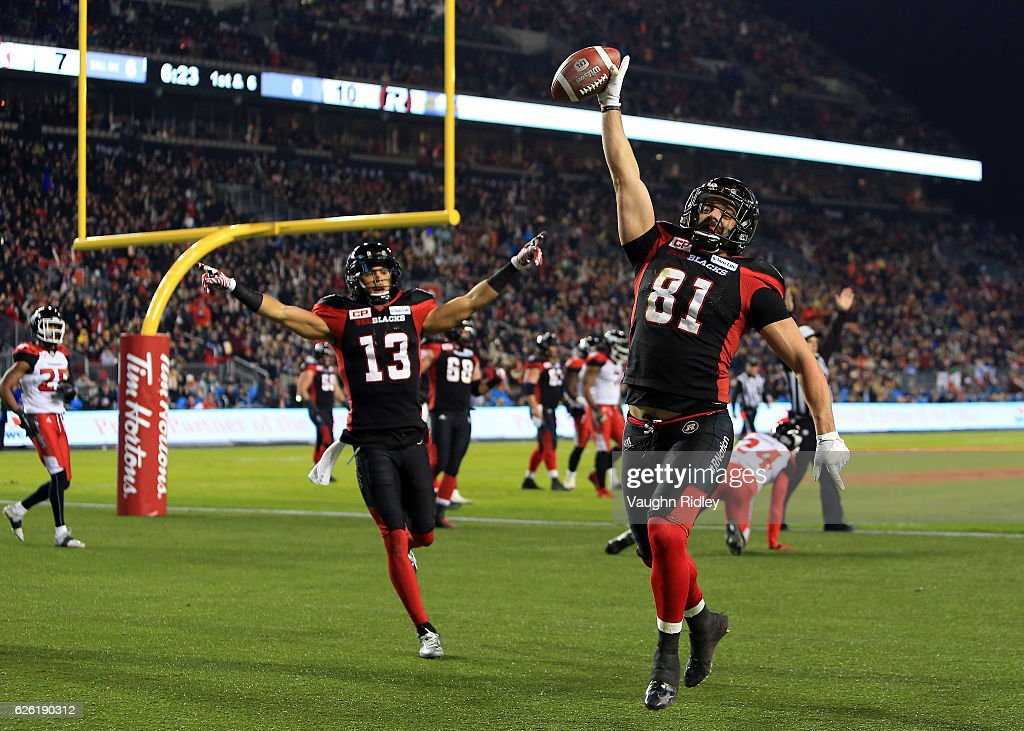 Patrick Lavoie #81 of the Ottawa Redblacks scores a touchdown during the first half of the 104th Grey Cup Championship Game against the Calgary Stampeders at BMO Field on November 27, 2016 in Toronto, Canada.