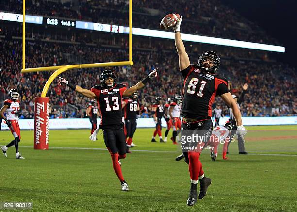 Patrick Lavoie of the Ottawa Redblacks scores a touchdown during the first half of the 104th Grey Cup Championship Game against the Calgary...