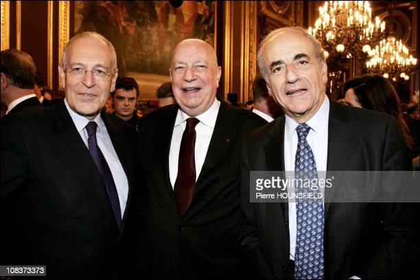 Patrick Le Lay president of TF1 Jean Pierre Elkabbach chairman of Europe 1 and TV channel public senate Herve Bourges in Paris France on January 11...
