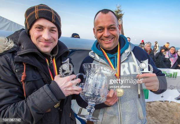Patrick Lehmann and Robert Ninas win the 20m sprint at the 'Beach Chair Sprint World Cup' in Zinnowitz, Germany, 28 January 2017. Five two-person...