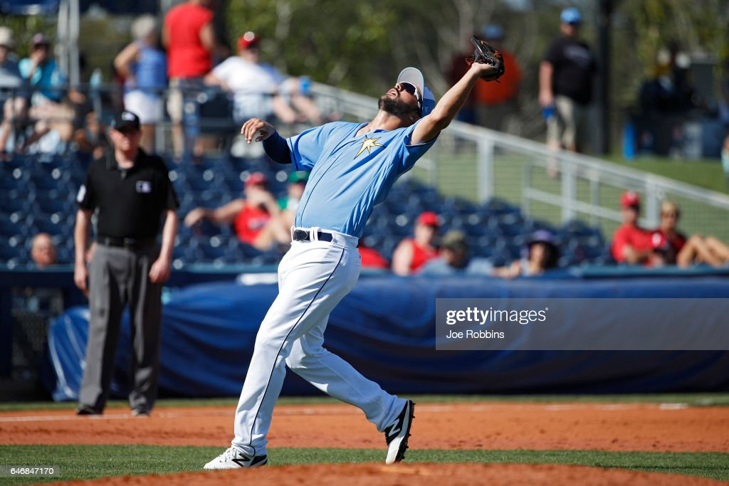 Patrick Leonard #67 of the Tampa Bay Rays catches an infield pop up at third base in the fifth inning of a Grapefruit League spring training game against the Philadelphia Phillies at Charlotte Sports Park on March 1, 2017 in Port Charlotte, Florida. The game ended in a 5-5 tie.