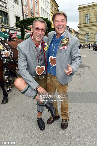 Patrick Lindner and boyfriend Peter Schaefer attend the 'Fruehstueck bei Tiffany' at Tiffany Store before the Oktoberfest 2014 starts on September 20...