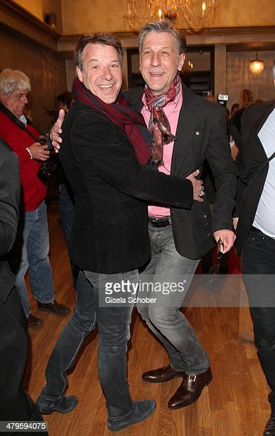 Patrick Lindner and boyfriend Peter Schaefer attend the NDF After Work Presse Cocktail at Parkcafe on March 19 2014 in Munich Germany
