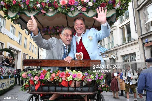 Patrick Lindner and his boyfriend Peter Schaefer during the Oktoberfest 2018 opening at Theresienwiese on September 22 2018 in Munich Germany