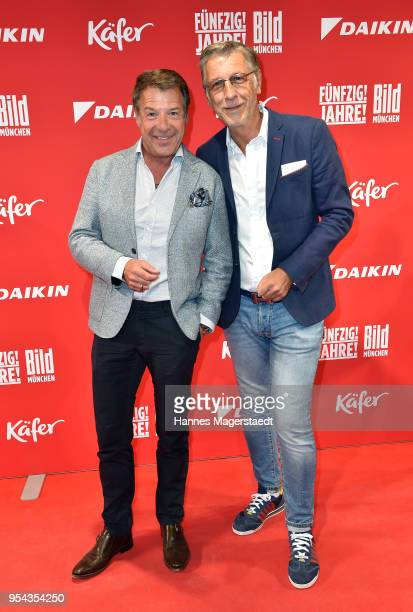 Patrick Lindner and his partner Peter Schaefer attend the BILD Muenchen Newspaper 50th anniversary party at MTTC IPHITOS on May 3 2018 in Munich...