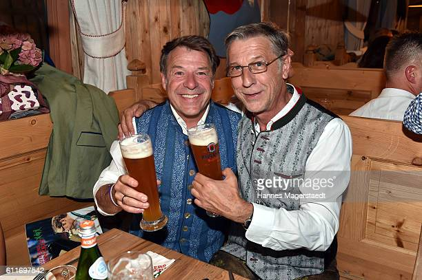 Patrick Lindner and his partner Peter Schaefer during the Oktoberfest at WeinzeltTheresienwiese on September 30 2016 in Munich Germany