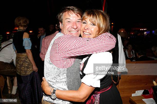 Patrick Lindner and Ireen Sheer attend the 'Goldstar TV Wiesn' as part of the Oktoberfest beer festival at Weinzelt on September 25 2012 in Munich...