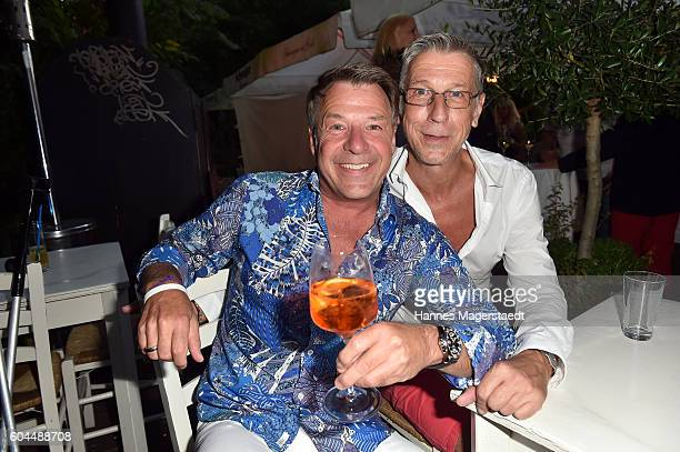 Patrick Lindner and Peter Schaefer during the My Big Fat Greek cocktail on September 13 2016 in Munich Germany