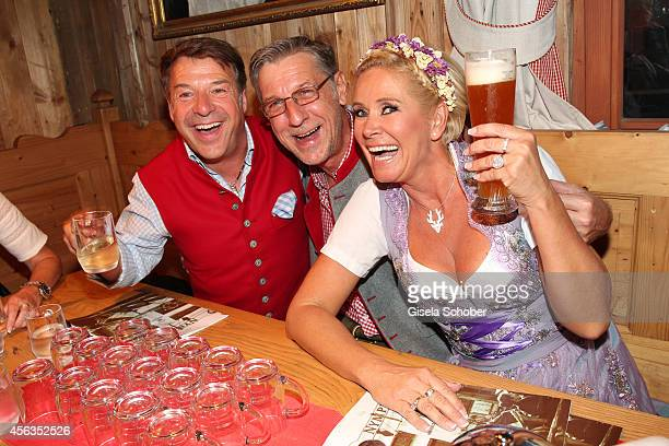 Patrick Lindner celebrates his birthday with his partner Peter Schaefer and Claudia Effenberg at Weinzelt /Theresienwiese on September 28 2014 in...