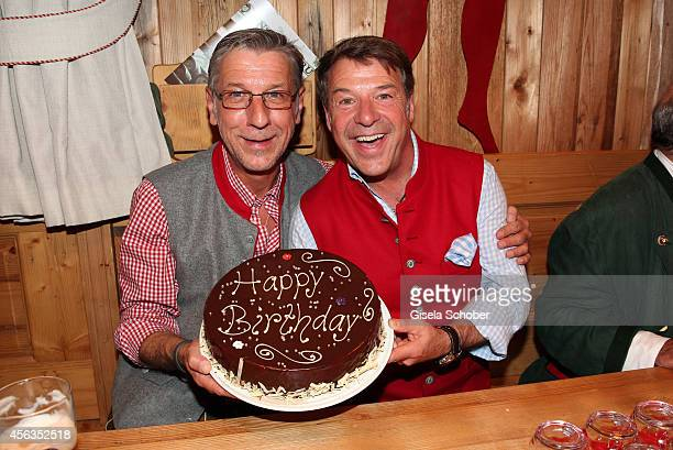 Patrick Lindner celebrates his birthday with his partner Peter Schaefer at Weinzelt /Theresienwiese on September 28 2014 in Munich Germany