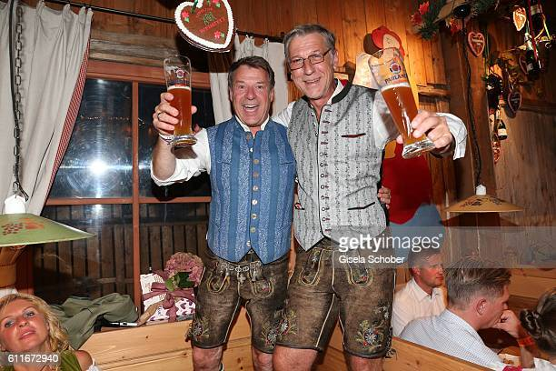 Patrick Lindner celebrates his birthday with his partner Peter Schaefer during the Oktoberfest at Weinzelt / Theresienwiese on September 30 2016 in...