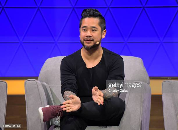 Patrick Liu speaks onstage at the 'Minecraft The Next Ten Years' panel during E3 2019 at the Novo Theatre on June 13 2019 in Los Angeles California