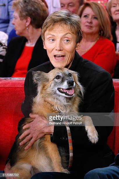Patrick Loiseau and the Dog Chance present the Book Ma chienne de vie during the 'Vivement Dimanche' French TV Show at Pavillon Gabriel on February...