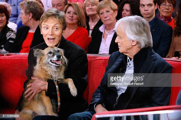 Patrick Loiseau the Dog Chance and Dave present their Book Ma chienne de vie during the 'Vivement Dimanche' French TV Show at Pavillon Gabriel on...