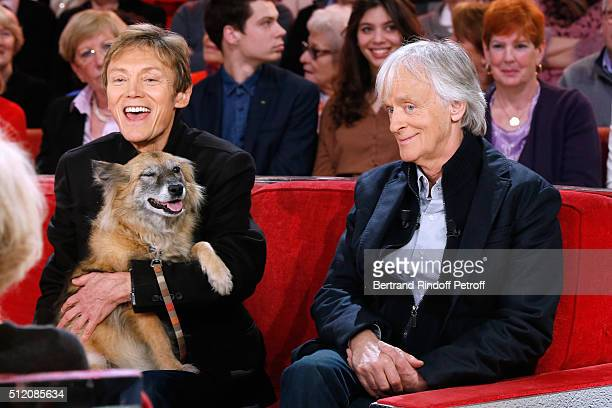 Patrick Loiseau the Dog Chance and Dave present their Book 'Ma chienne de vie' during the 'Vivement Dimanche' French TV Show at Pavillon Gabriel on...