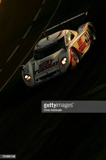 Patrick Long and Jorg Burgmeister drive the Ruby Tuesday Porsche Craford during the GrandAm Rolex Sports Car Series race on March 3 2007 at the...