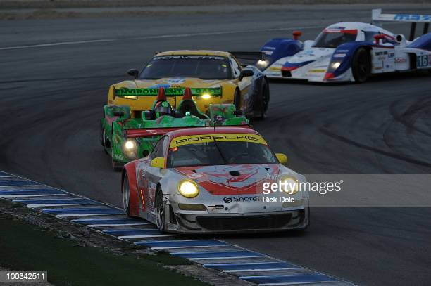 Patrick long drives the Flying Lizard Motorsports Porsche GT during the American Le Mans Series Monterey at Mazda Raceway Laguna Seca on May 22 2010...