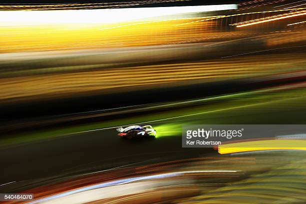 Patrick Long of the United States and Abu Dhabi Proton Racing drives during practice for the Le Mans 24 Hour race at the Circuit de la Sarthe on June...