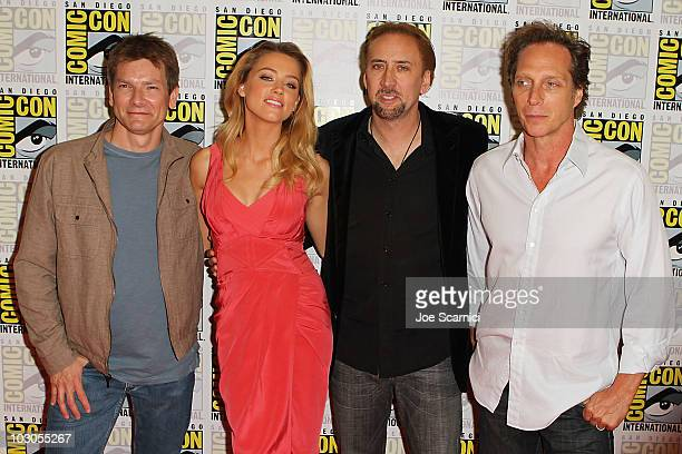 Patrick Lussier, Amber Heard, Nicolas Cage and William Fichtner arrive to the Drive Angry 3D press room on Day 2 of 2010 Comic-Con International at...