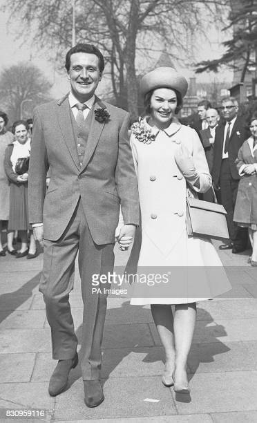 Patrick Macnee And His Bride Catherine Woodville Step Into The Sunshine From Hampstead Registry Office After