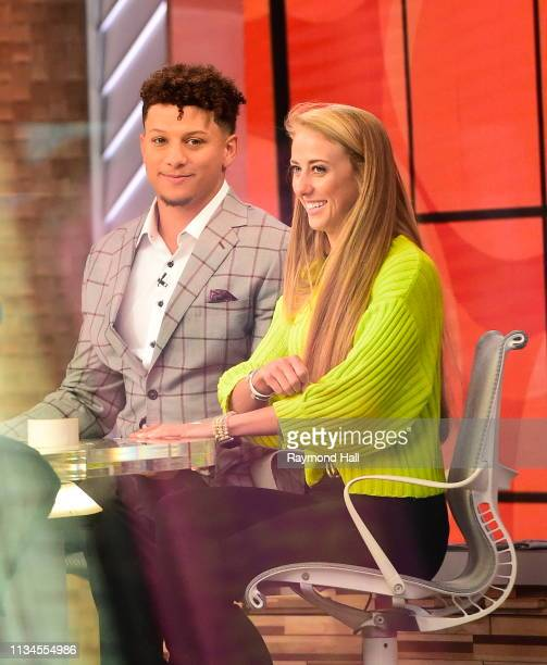 Patrick Mahomes and Brittany Matthews are seen on the set of GMA Day on April 2 2019 in New York City