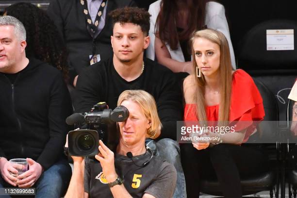 Patrick Mahomes and Brittany Matthews attend a basketball game between the Los Angeles Lakers and the New Orleans Pelicans at Staples Center on...