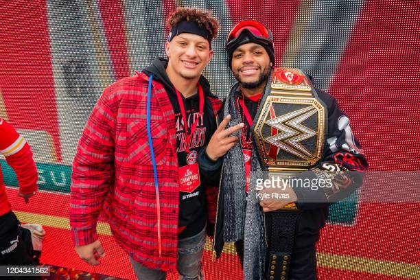 Patrick Mahomes and Juan Thornhill of the Kansas City Chiefs pose for a photo during the Kansas City Chiefs Victory Parade on February 5 2020 in...