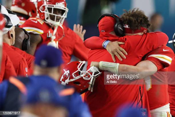 Patrick Mahomes greets head coach Andy Reid of the Kansas City Chiefs after defeating San Francisco 49ers by 31 - 20 in Super Bowl LIV at Hard Rock...
