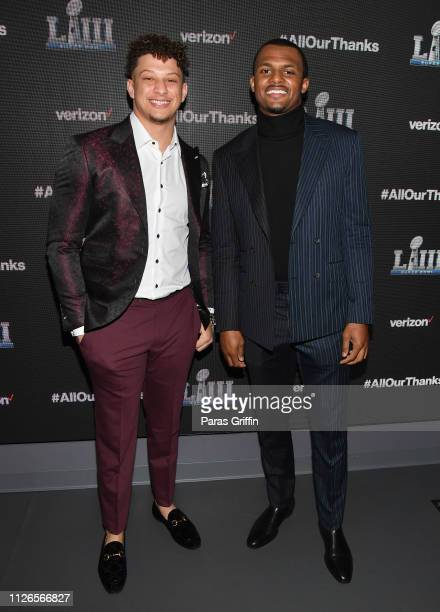 Patrick Mahomes II and Deshaun Watson attend the world premiere event for The Team That Wouldn't Be Here documentary hosted by Verizon on January 31...