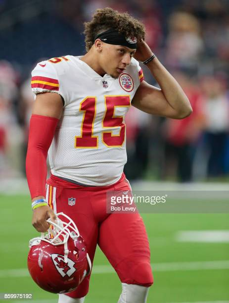 Patrick Mahomes II of the Kansas City Chiefs warms up before the team plays the Houston Texans at NRG Stadium on October 8 2017 in Houston Texas