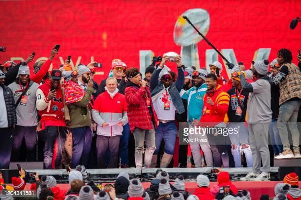 Patrick Mahomes of the Kansas City Chiefs addresses the crowd during the Kansas City Chiefs Victory Parade on February 5 2020 in Kansas City Missouri