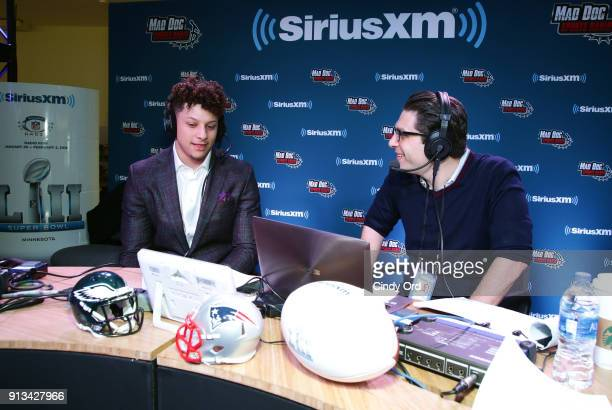 Patrick Mahomes of the Kansas City Chiefs and SiriusXM radio host Adam Schein attend SiriusXM at Super Bowl LII Radio Row at the Mall of America on...