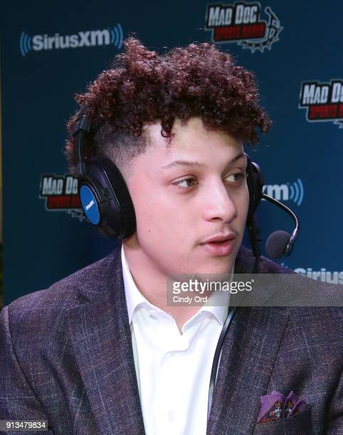Patrick Mahomes of the Kansas City Chiefs attends SiriusXM at Super Bowl LII Radio Row at the Mall of America on February 2 2018 in Bloomington...