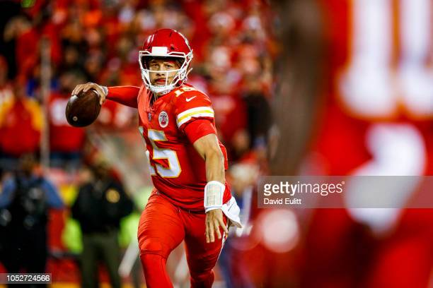 Patrick Mahomes of the Kansas City Chiefs begins to throw a pass that would lead to a touchdown during the second half of the game against the...