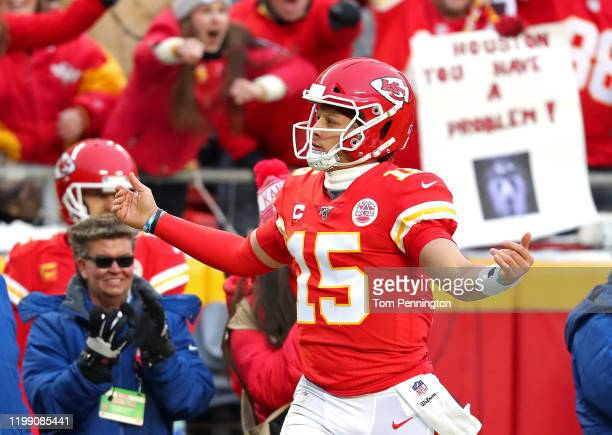 Patrick Mahomes of the Kansas City Chiefs celebrates a first down run against the Houston Texans during the second quarter in the AFC Divisional...