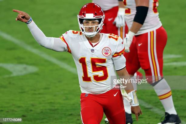 Patrick Mahomes of the Kansas City Chiefs celebrates after a touchdown against Baltimore Ravens at M&T Bank Stadium on September 28, 2020 in...