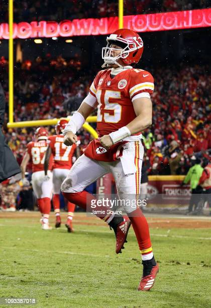 Patrick Mahomes of the Kansas City Chiefs celebrates after a touchdown during the AFC Divisional round playoff game against the Indianapolis Colts at...