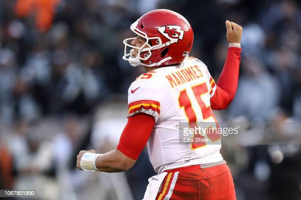 Patrick Mahomes of the Kansas City Chiefs celebrates after a twoyard touchdown pass to Chris Conley against the Oakland Raiders during their NFL game...