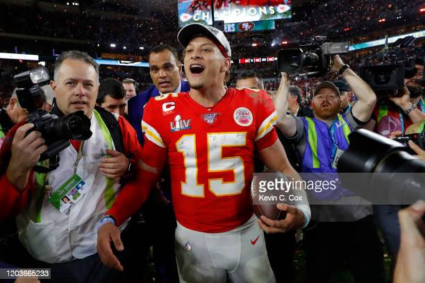 Patrick Mahomes of the Kansas City Chiefs celebrates after defeating the San Francisco 49ers 3120 in Super Bowl LIV at Hard Rock Stadium on February...