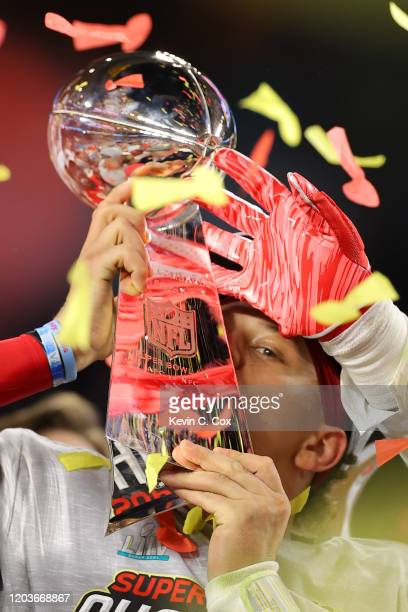 Patrick Mahomes of the Kansas City Chiefs celebrates after defeating the San Francisco 49ers 31-20 in Super Bowl LIV at Hard Rock Stadium on February...