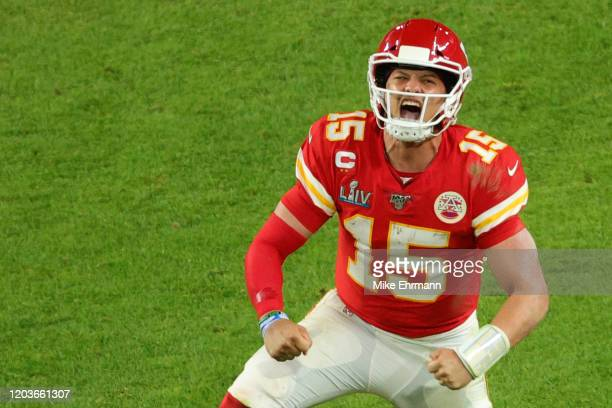 Patrick Mahomes of the Kansas City Chiefs celebrates after throwing a touchdown pass against the San Francisco 49ers during the fourth quarter in...