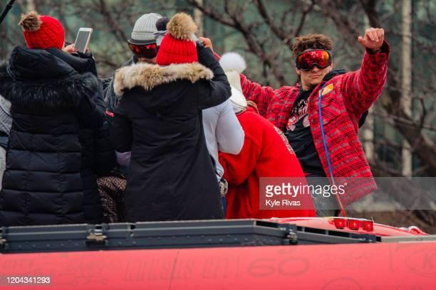 Patrick Mahomes of the Kansas City Chiefs celebrates during the Kansas City Chiefs Victory Parade on February 5 2020 in Kansas City Missouri