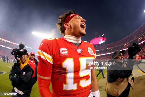Patrick Mahomes of the Kansas City Chiefs celebrates his teams win against the Houston Texans in the AFC Divisional playoff game at Arrowhead Stadium...