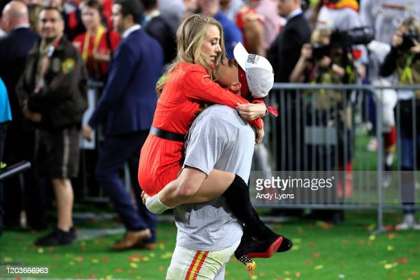 Patrick Mahomes of the Kansas City Chiefs celebrates with his girlfriend Brittany Matthews after defeating the San Francisco 49ers 3120 in Super Bowl...