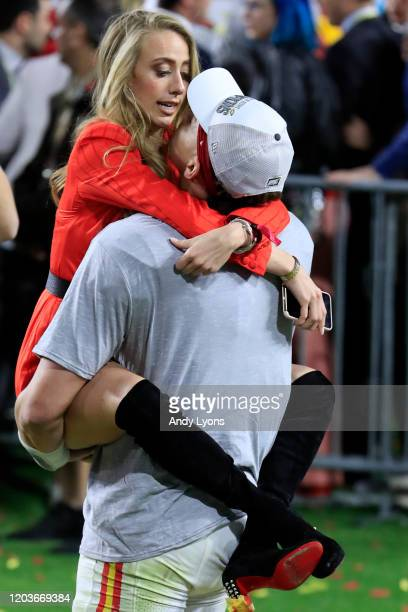 Patrick Mahomes of the Kansas City Chiefs celebrates with his girlfriend Brittany Matthews after defeating San Francisco 49ers by 31 20 in Super Bowl...