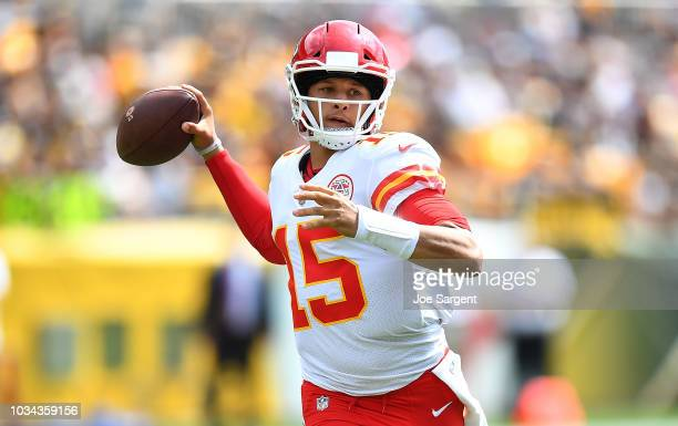 Patrick Mahomes of the Kansas City Chiefs drops back to pass in the first quarter during the game against the Pittsburgh Steelers at Heinz Field on...