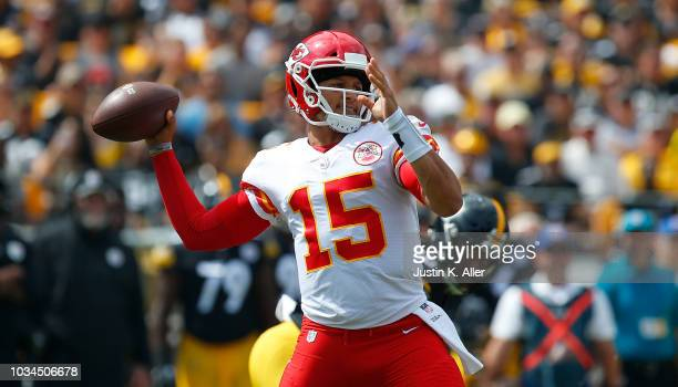 Patrick Mahomes of the Kansas City Chiefs drops back to pass in the first half during the game against the Pittsburgh Steelers at Heinz Field on...