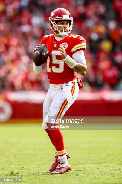 Patrick Mahomes of the Kansas City Chiefs drops back to throw a pass during the game against the Arizona Cardinals at Arrowhead Stadium on November...