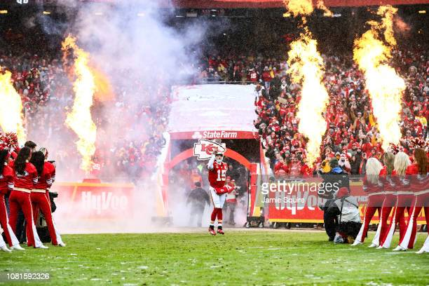 Patrick Mahomes of the Kansas City Chiefs enters the field prior to the game against the Indianapolis Colts during the AFC Divisional Round playoff...